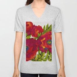 Bold Poppies Unisex V-Neck