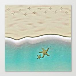 SANDY BEACH & STARFISH Canvas Print