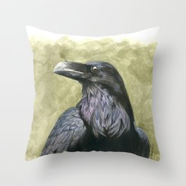 Proud Raven - Watercolor Throw Pillow