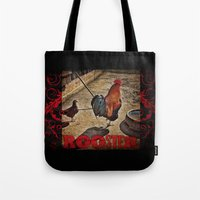 rooster Tote Bags featuring Rooster by Justin Alan Casey