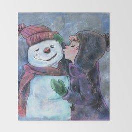 Kiss a snowman Throw Blanket