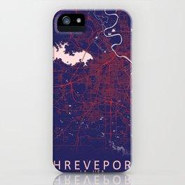 Shreveport, LA, USA, Blue, White, City, Map iPhone Case