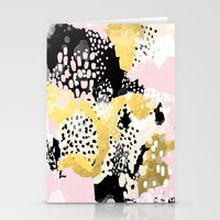 coachella Stationery Cards featuring Simone - abstract painting gold foil trendy hipster pastel pink modern trendy colors decor college by CharlotteWinter