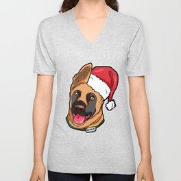 Belgian Malinoi Dog Christmas Hat Present Unisex V-Neck