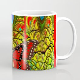 RED MONARCH BUTTERFLIES LIME COLOR PEACOCK ART Coffee Mug
