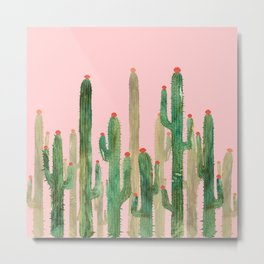 Cactus Four on Pink Metal Print
