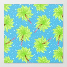 Pattern of Palm Tree-like Flowers Canvas Print
