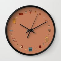 the grand budapest hotel Wall Clocks featuring Budapest Hotel Plot Pattern by QRS Patterns