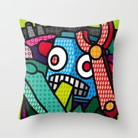 artsy Throw Pillows featuring Artsy Bot by Brandon Ortwein