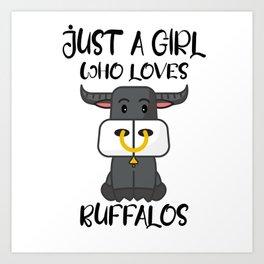 Just A Girl Who Loves Buffalos I Girl Gift Art Print