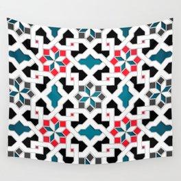 Oriental Pattern - Geometric Design, red / blue / grey Wall Tapestry