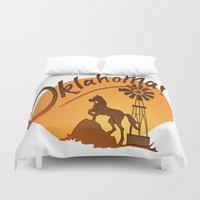oklahoma Duvet Covers featuring Oklahoma by Jacinta Eve