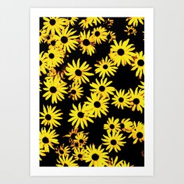 Funky Yellow Flowers Art Print