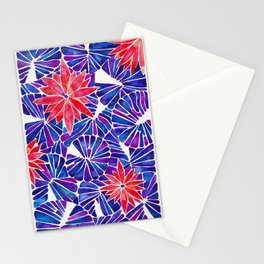 Water Lilies – Indigo & Red Palette Stationery Cards