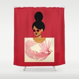 High Bun Postcard Girl Shower Curtain
