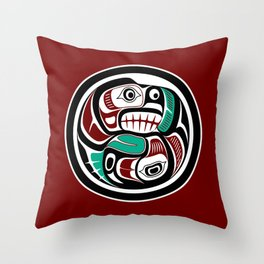 Northwest Pacific coast Otter chasing Salmon Throw Pillow