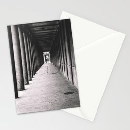 Arcade with columns in Copenhagen, architecture black and white photography Stationery Cards