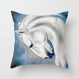 White Lusitano Blue Comic Style Throw Pillow