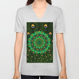 green peacock mandala Unisex V-Neck