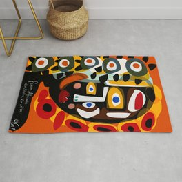 African Woman is dreaming in the sunrise Rug
