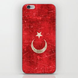 Vintage Aged and Scratched Turkish Flag iPhone Skin
