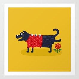 Cute Dog Pissing Illustration Art Print