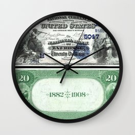 1882 Issue U.S. Federal Reserve Twenty Dollar Battle of Lexington Bank Note Wall Clock