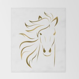 Golden Horse Drawing Throw Blanket