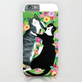 lovebirds CATS in flower garden painting by TASCHA iPhone Case