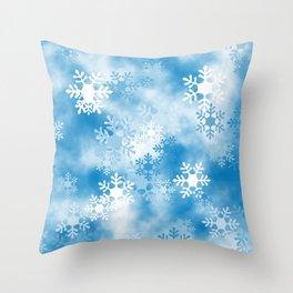 Christmas Elements Blue White Snowflakes Design Pattern Throw Pillow