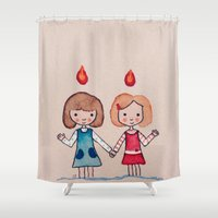 sisters Shower Curtains featuring Sisters by carosurreal