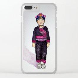 Hmong boy at Ban Tung Sai school Clear iPhone Case