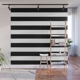 Horizontal Stripes (Black/White) Wall Mural