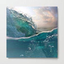 Beach Waves Sunset Sundown Ocean Blues Bubbles Metal Print