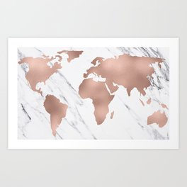 Marble World Map Rose Gold Pink Art Print