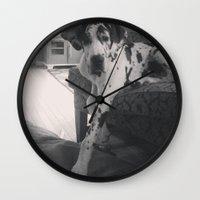 great dane Wall Clocks featuring Great Dane by aubreyplays