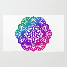 Bright jewel tones mandala Rug