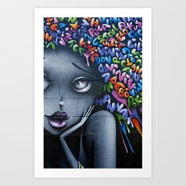 girl letters grafitti Art Print