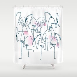 flamingo. line drawing illustration. Aloha set. Hawaii. hand drawn. pattern. Shower Curtain