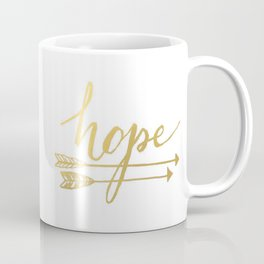 Gold Quote Hope Brushstroke Watercolor Ink Typography Classic Calligraphy Peace Coffee Mug