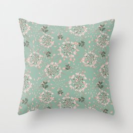 Pale green, pale rose - look around flowers romantic Throw Pillow