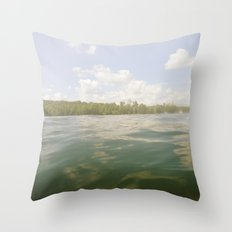Water Reflection Sky Clouds Nature Trees Color Photography Throw Pillow