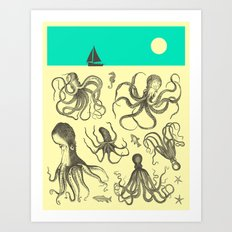 Seascape (with Octopodes) Art Print