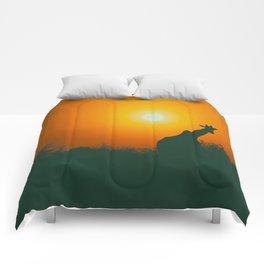 Lonely Sunset Giraffe Comforters
