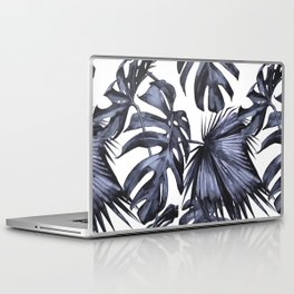 Classic Palm Leaves Navy Blue Laptop & iPad Skin