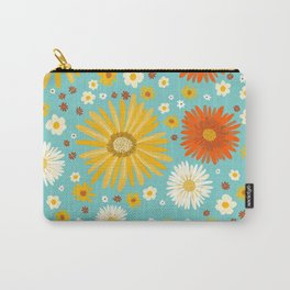 Happy Daisies Pattern on Light Blue Carry-All Pouch