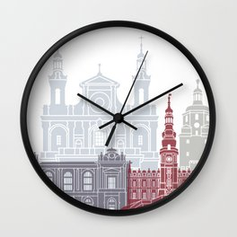 Lublin skyline poster Wall Clock