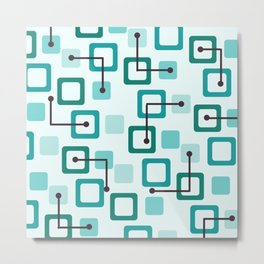 Midcentury 1950s Tiles & Squares Turquoise Metal Print