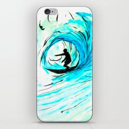 Lone Surfer Tubing the Big Blue Wave iPhone Skin