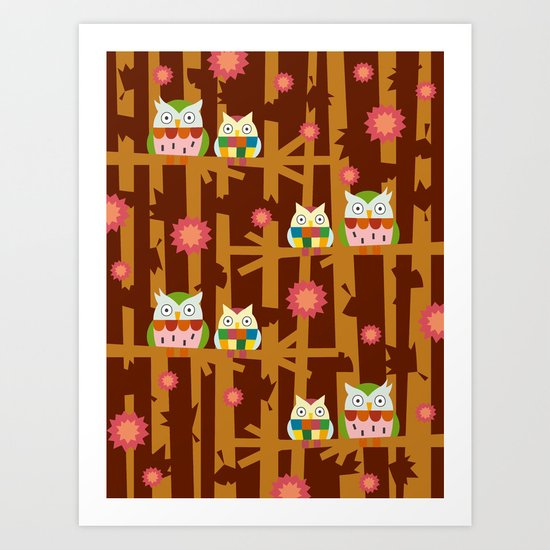 Owl Forest Art Print